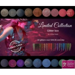 Urban Nails limited collection glitterbox 18 stuks met bij passende Gel polish/Cat Eye kleuren